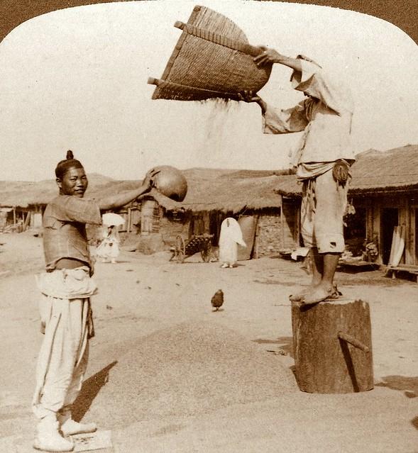 Men winnowing barley in streets of Chemulpo