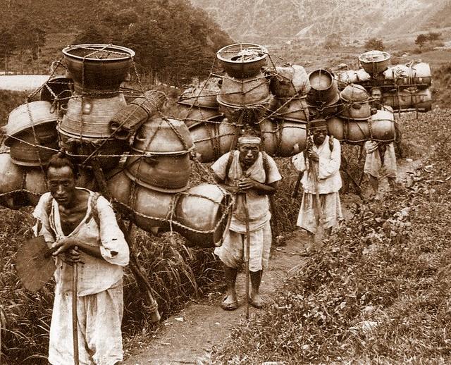 pottery carrying mountain men near Seoul